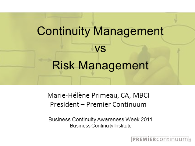 Continuity Management vs Risk Management