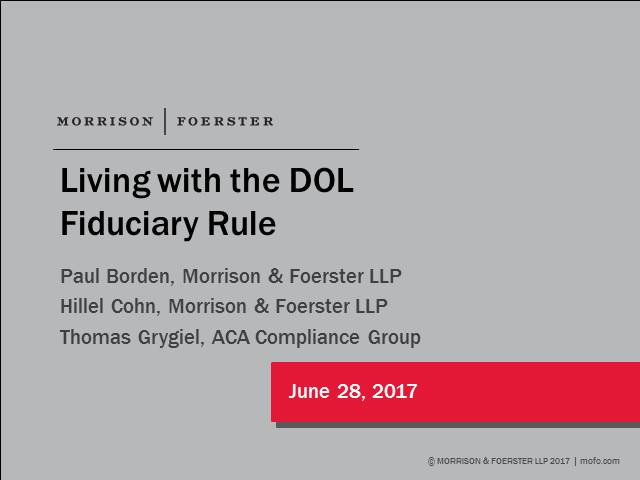 Living with the DOL Fiduciary Rule