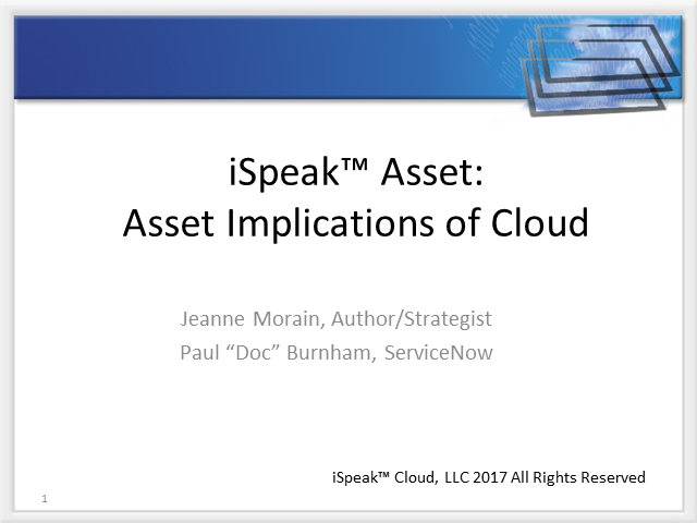 iSpeak Asset:  Asset Implications of Cloud
