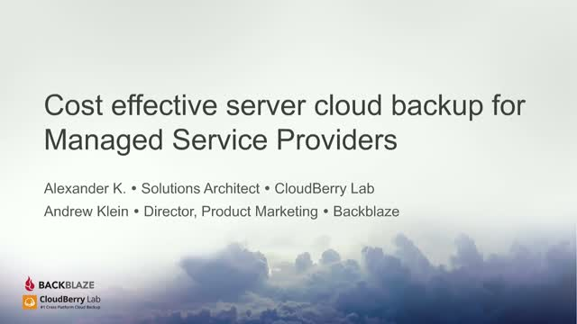 Cost Effective Server Cloud Backup for Managed Service Providers