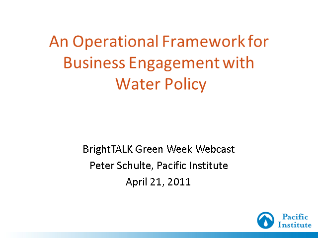 An Operational Framework for Business Engagement w/ Water Policy