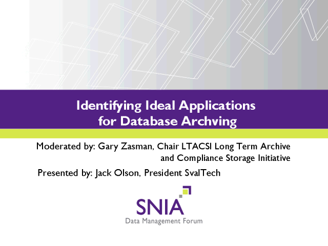 Identifying Ideal Applications for Database Archiving