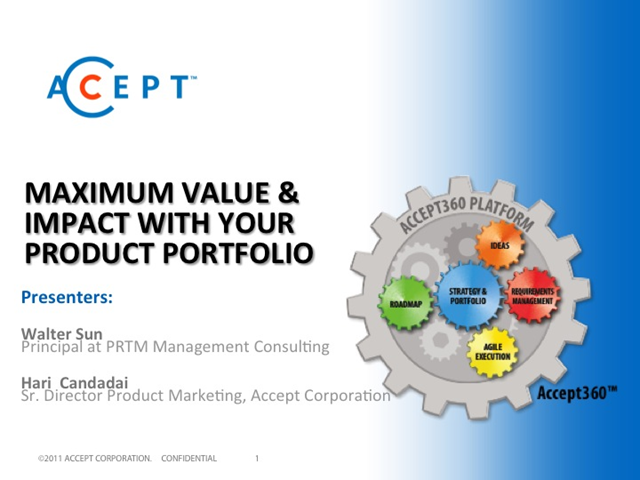 Maximum Value & Impact with Your Product Portfolio