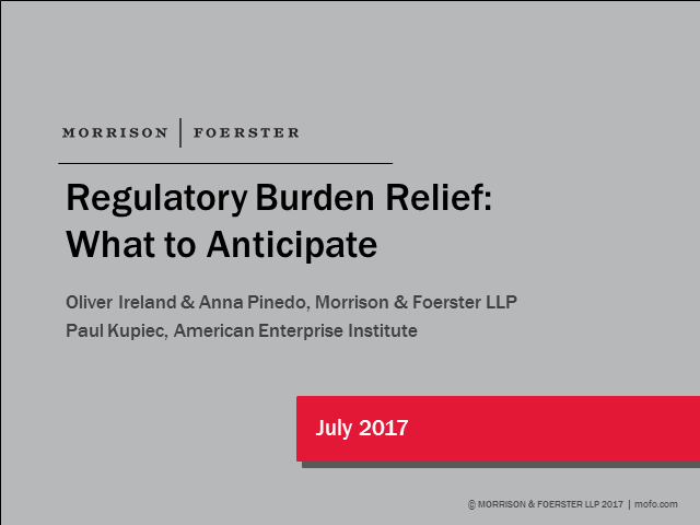 Regulatory Burden Relief: What to Anticipate