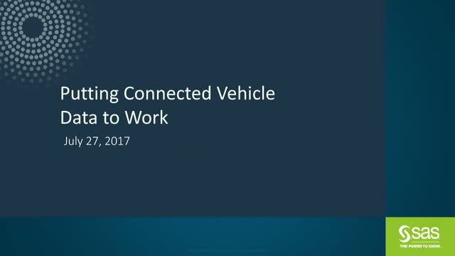 Putting Connected Vehicle Data to Work