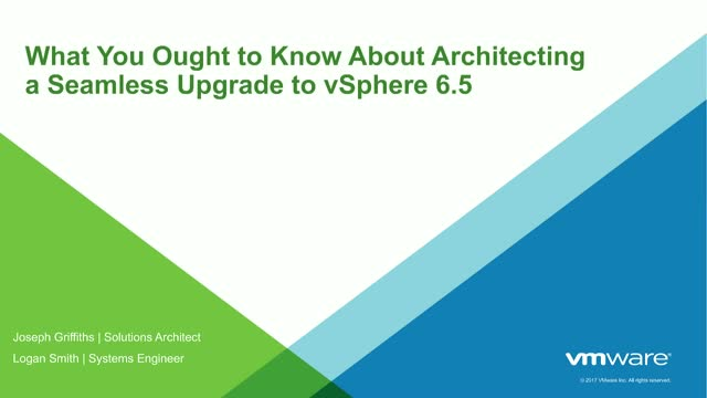 """VMware vSphere 6.5 Series: Best Practices and """"How Tos"""" for Migration"""
