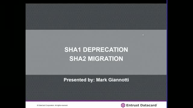 SHA-1 Deprecation SHA-2 Deprecation