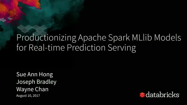 Productionizing Apache Spark™ MLlib Models for Real-time Prediction Serving