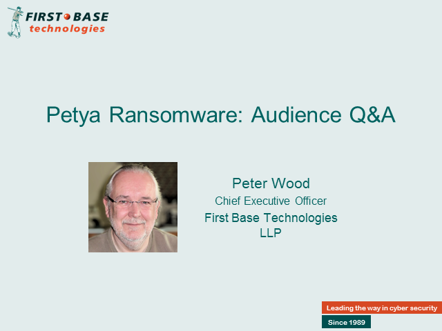 Petrified by the Petya Ransomware? Live Q&A session with Pete Wood