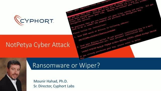 NotPetya: Ransomware or Wiper? Nation State or Criminal Gang?