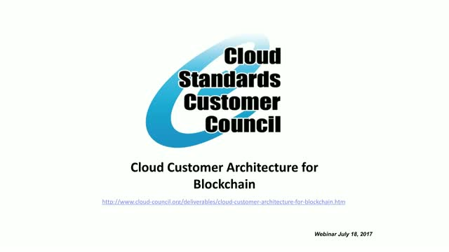 Cloud Customer Architecture for Blockchain