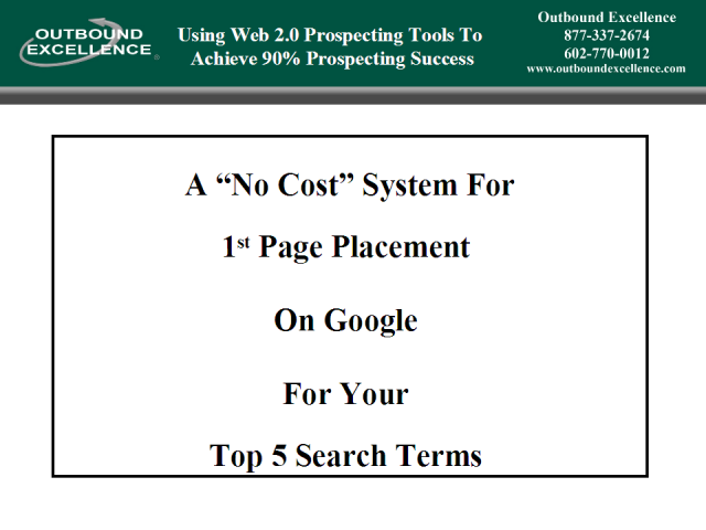 A No Cost System For First Page Placement On Google