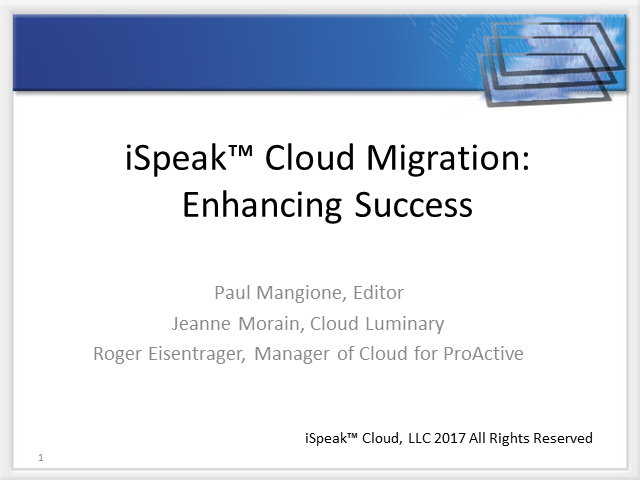 iSpeak Cloud:  Tips and Tricks on migrating to AWS