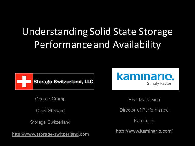 Understanding Solid State Storage Performance and Reliability