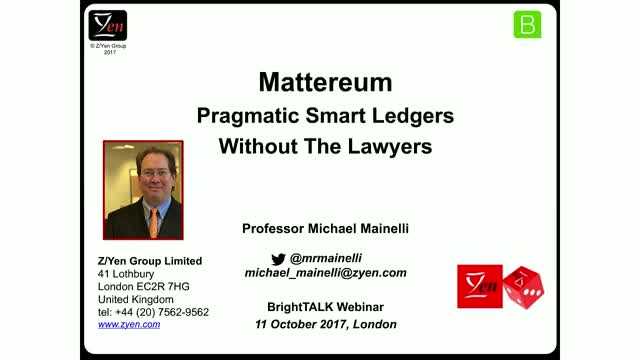 Mattereum - Pragmatic Smart Ledgers Without The Lawyers
