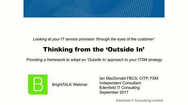 Thinking from the 'Outside In' in ITSM