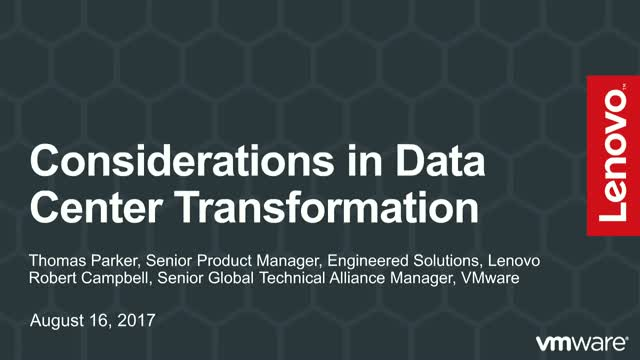 Considerations in Data Center Transformation