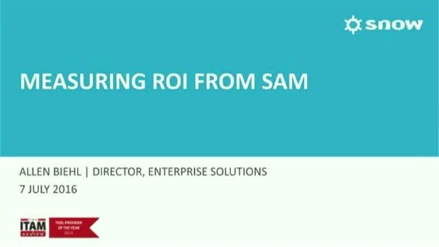 Measuring the return on investment from a SAM program