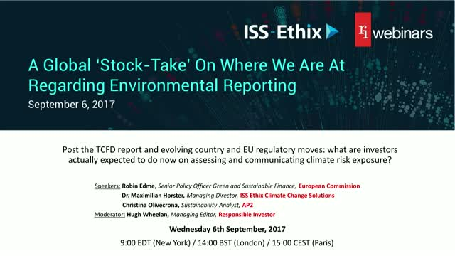 A global 'stock-take' on where we're at regarding environmental reporting