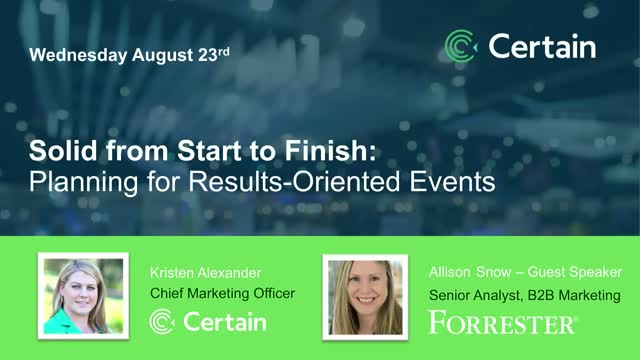 Solid from Start to Finish: Planning for Results-Oriented Events
