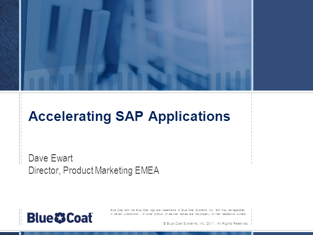 Accelerating SAP applications over the WAN or Cloud