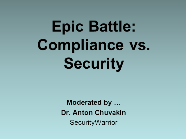 Epic Battle: Compliance vs. Security