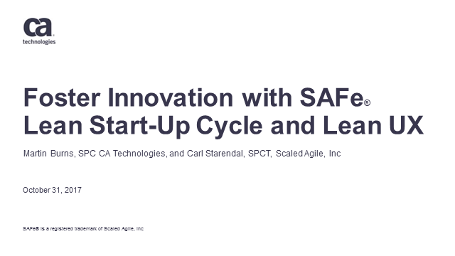 Foster innovation with SAFe® Lean Startup Cycle and Lean UX