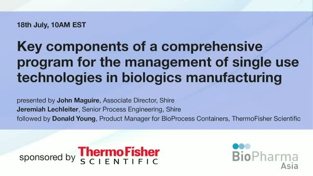 Key components of a comprehensive program for the management of single use techn