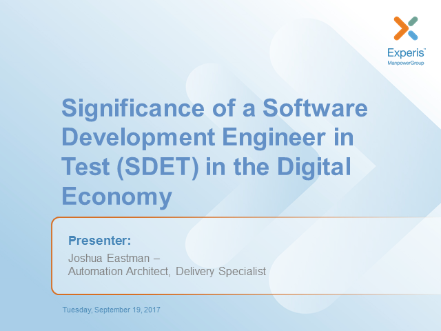 Significance of a Software Development Engineer in Test in the Digital Economy