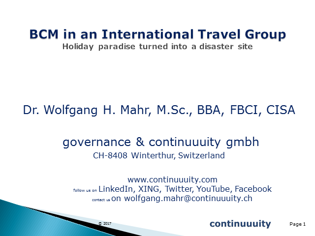 Business Continuity Management in an international travel group
