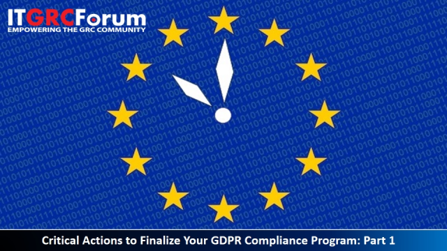 CPE Webinar: Critical Actions to Finalize Your GDPR Compliance Program: Part 1