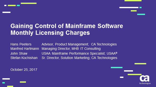 Gaining Control of Mainframe Software Monthly Licensing Charges with Dynamic Cap