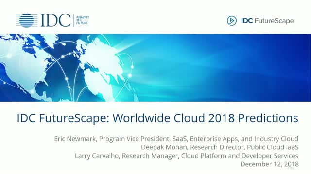 IDC FutureScape: Worldwide Cloud 2018 Predictions