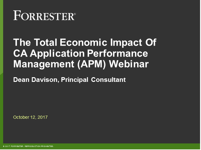 Forrester Total Economic Impact Study of CA APM