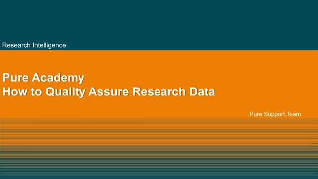 Pure Basics: How to quality assure research data