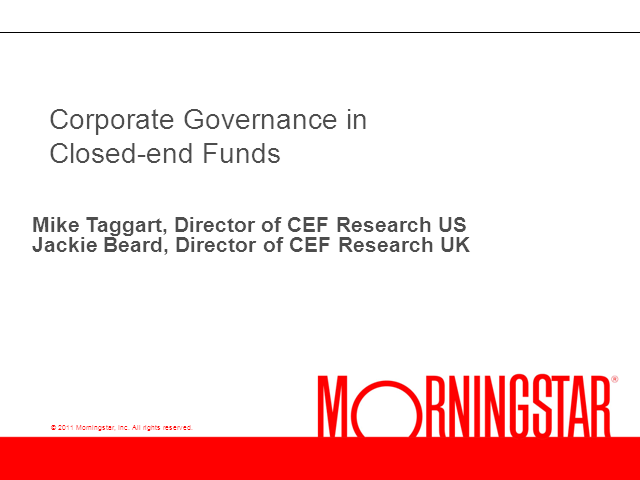Corporate Governance in Closed-end Funds