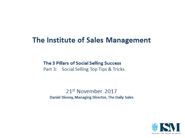 ISM Webinar: Social Selling Top Tips & Tricks
