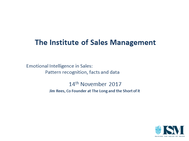 ISM Webinar: Emotional Intelligence in Sales