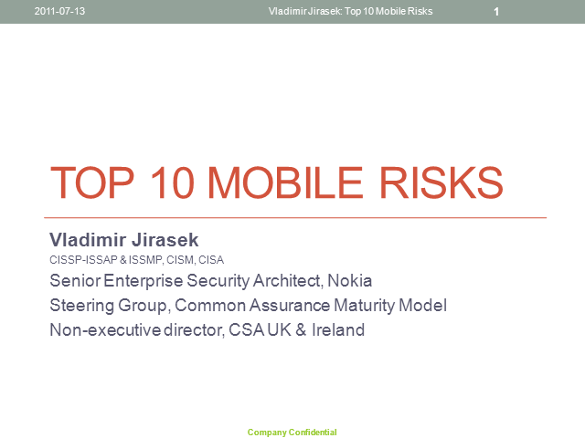 Top 10 Mobile Risks