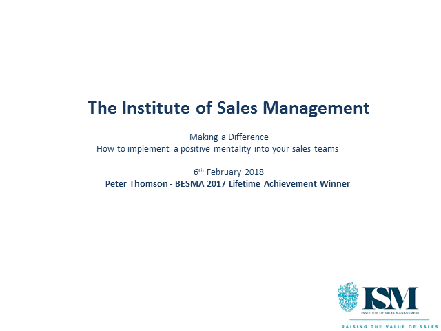 ISM Webinar: Mindsets of Highly Effective Sellers