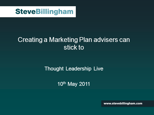 Creating A Marketing Plan Advisers Can Stick To