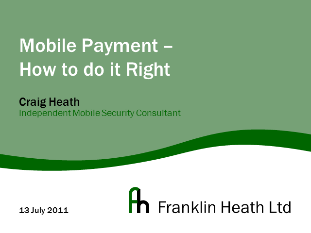Mobile Payment: How to Do It Right