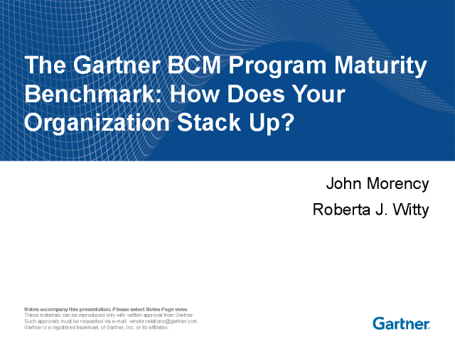 Gartner's BCM & IT DRM Maturity Model