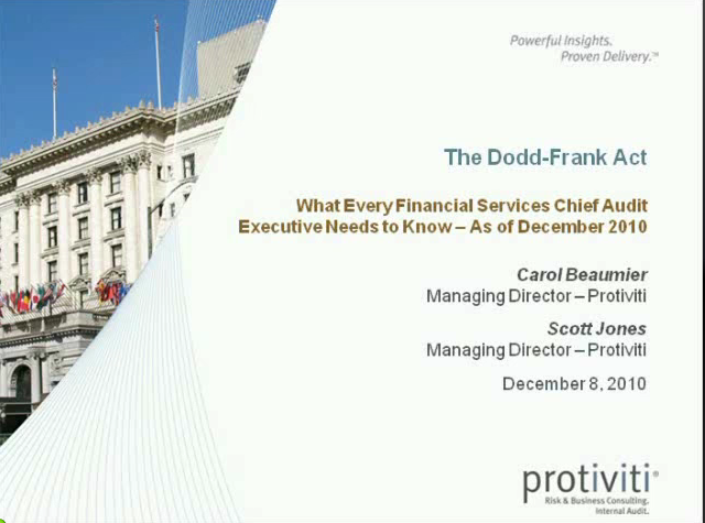 The Dodd-Frank Act: As of December 2010