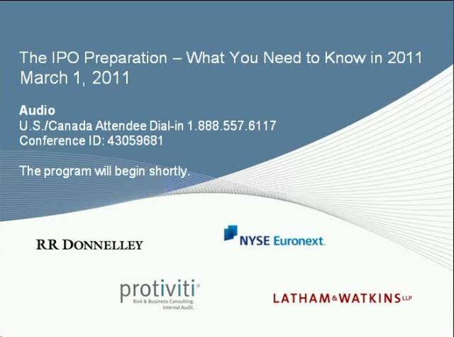 IPO Preparation - What you need to know in 2011