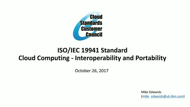 ISO Cloud Computing Interoperability and Portability Standards