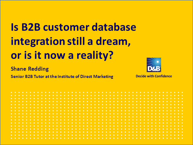 Is customer database integration still a dream, or now reality?