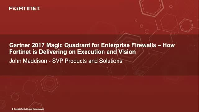 Gartner 2017 Magic Quadrant for Enterprise Firewalls