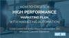 How to Create a High Performance Marketing Plan with Marketing Automation