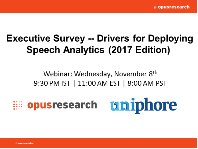 Executive Survey -- Drivers for Deploying Speech Analytics
